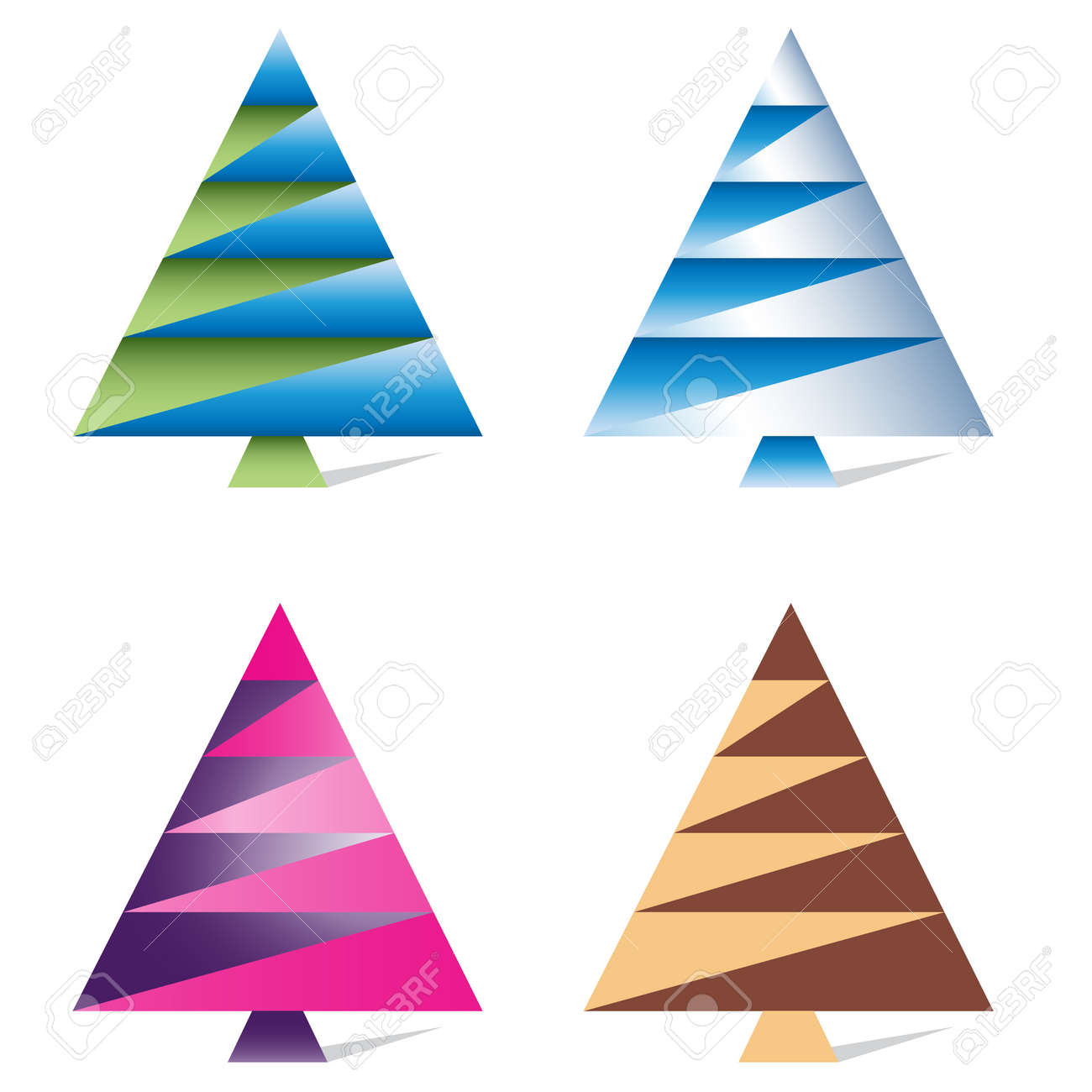 A Set Of Original, Creative, Colored Christmas Trees Drawn From ...