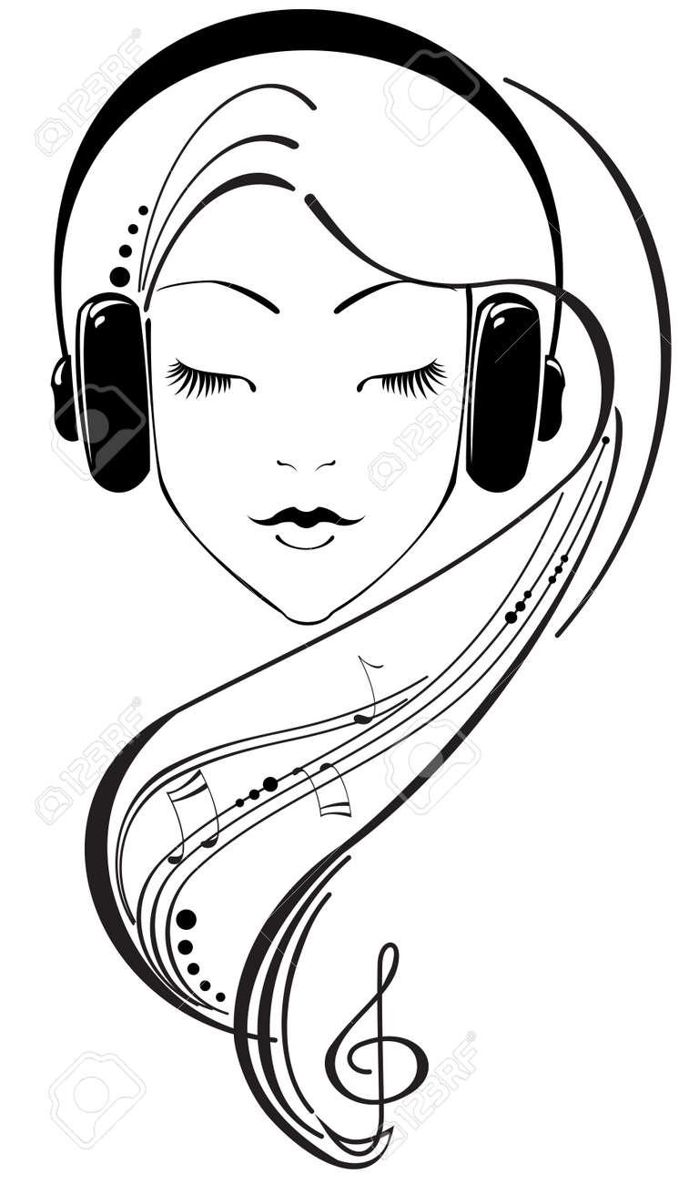 Beautiful girl listening to headphones Stock Vector - 6571737