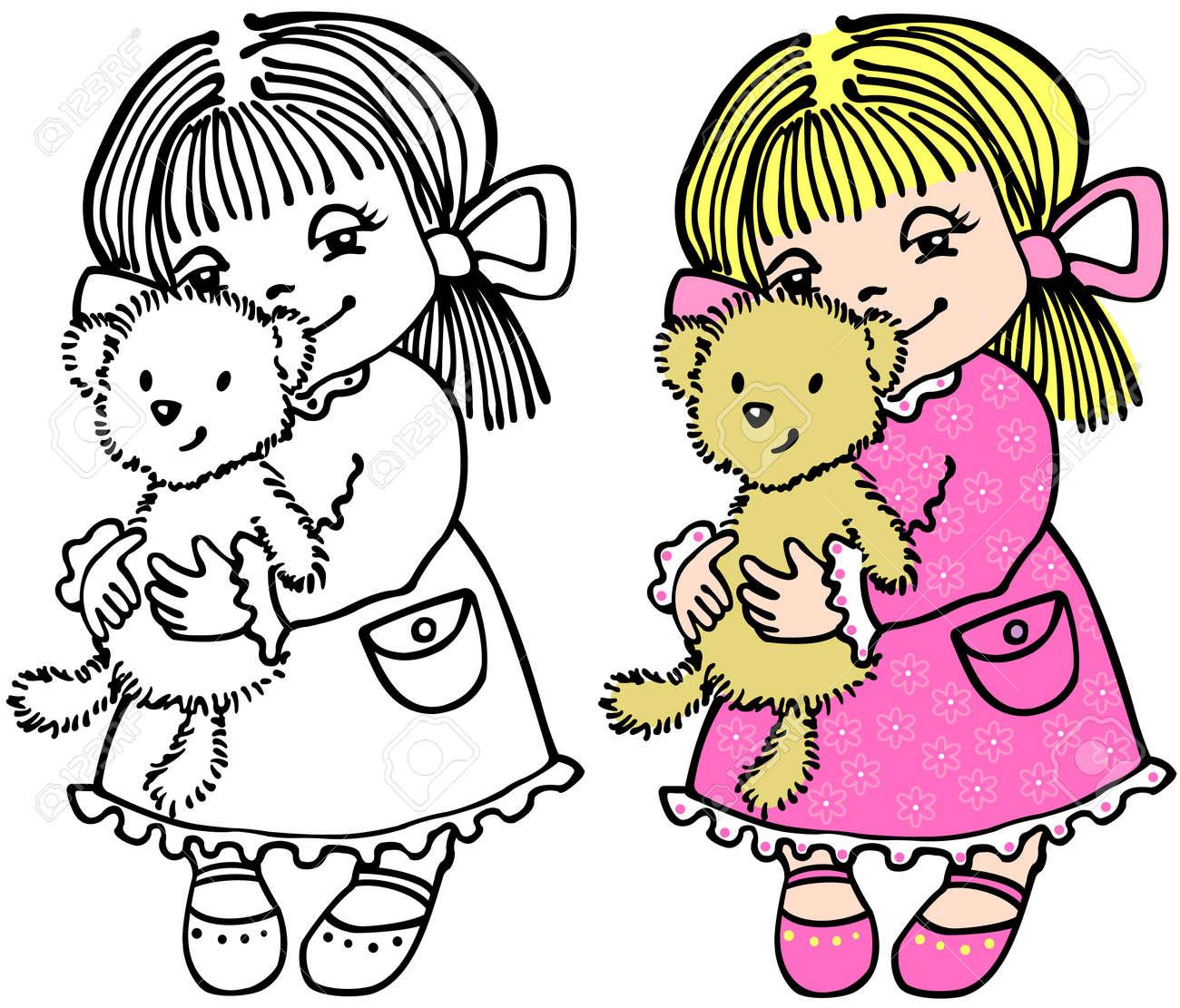 Small girl with bear Stock Vector - 11105341