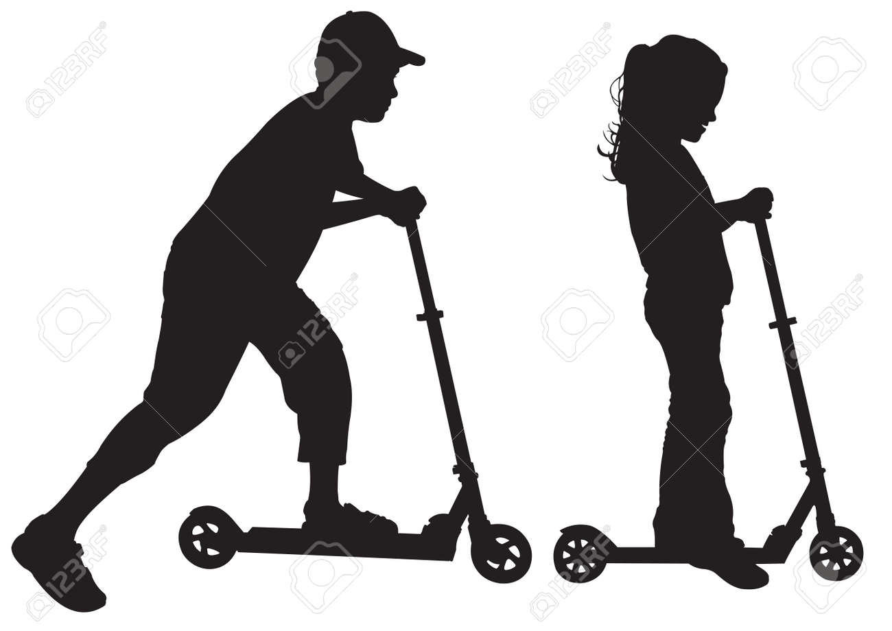 Silhouettes of children on scooter Stock Vector - 14789852