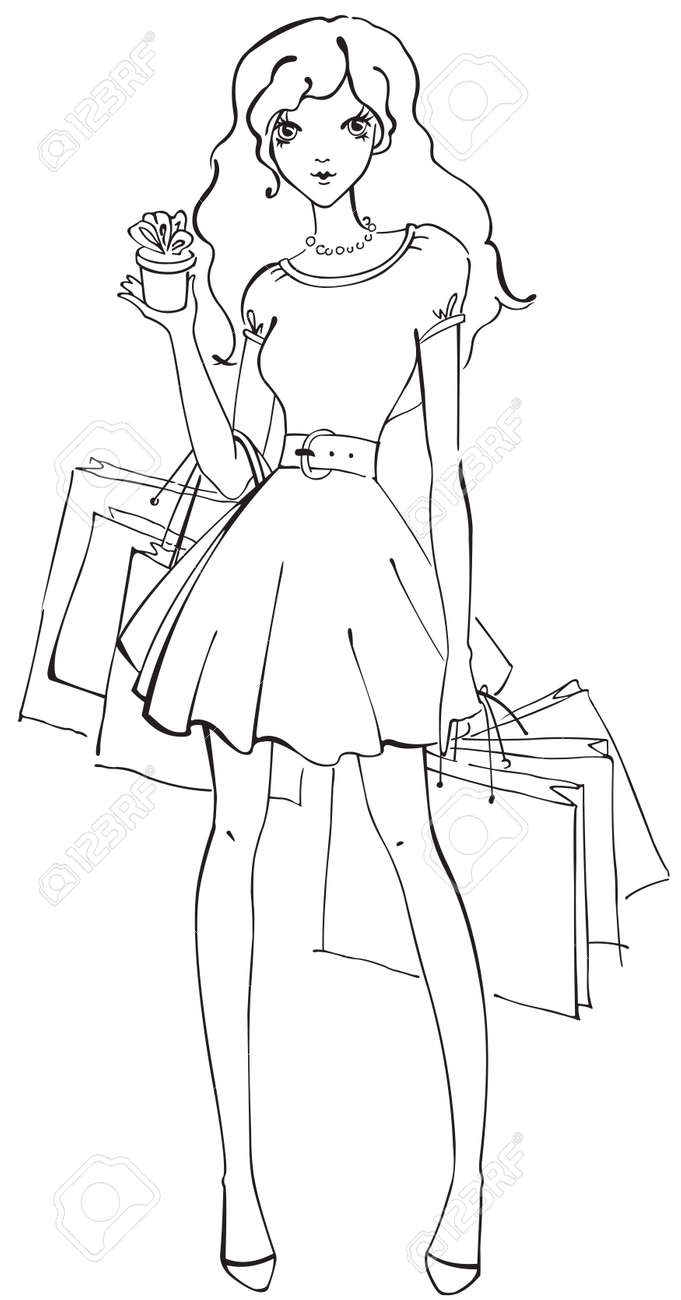 Beautiful woman with shopping bags and small gift Stock Vector - 18143563