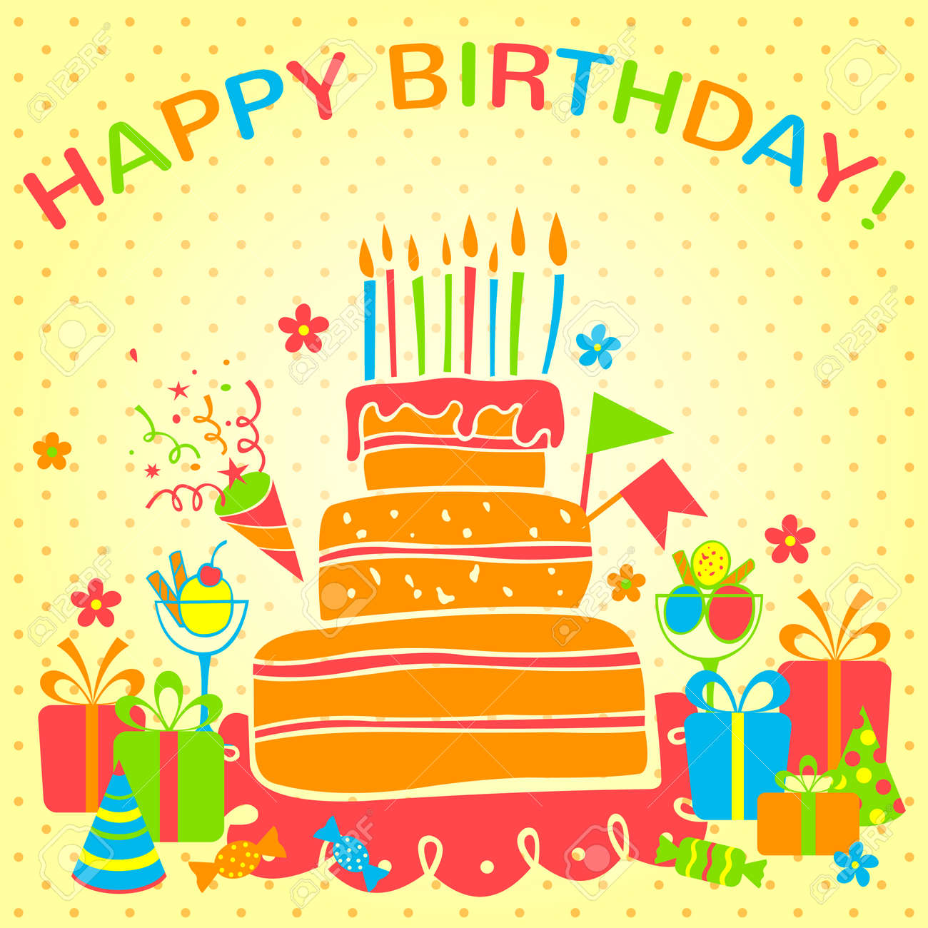 Happy Birthday Card With Cake And Gifts Vector Illustration Royalty