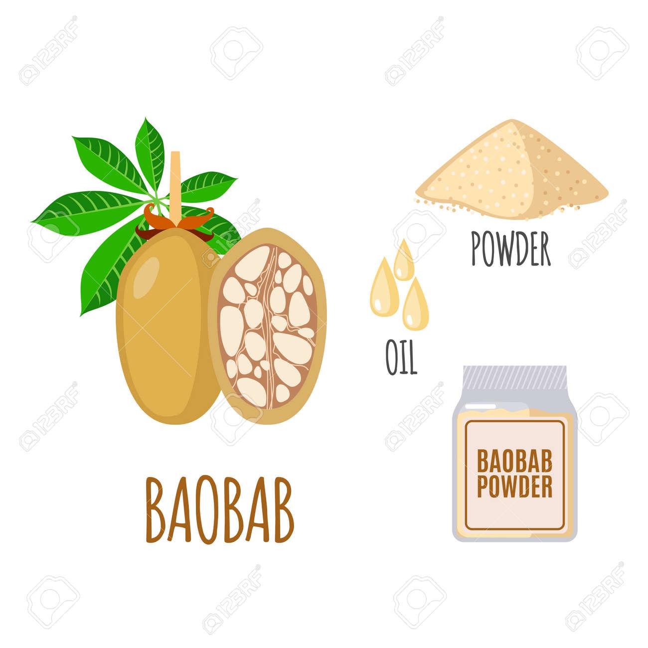 Baobab Frucht Pulver Ol Supernahrungs Baobab In Flachen Stil