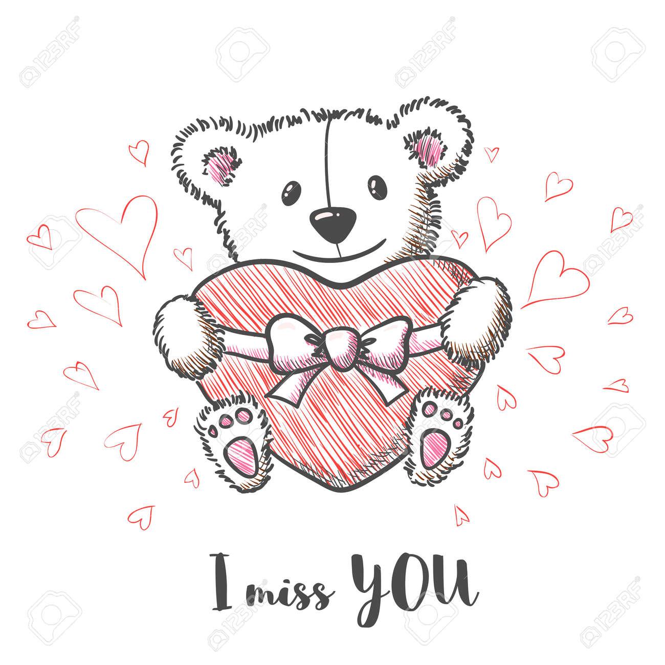 Carte Romantique Avec La Main Dessinée Ours Mignon Tenant Coeur Tu Me Manques Vector Illustration
