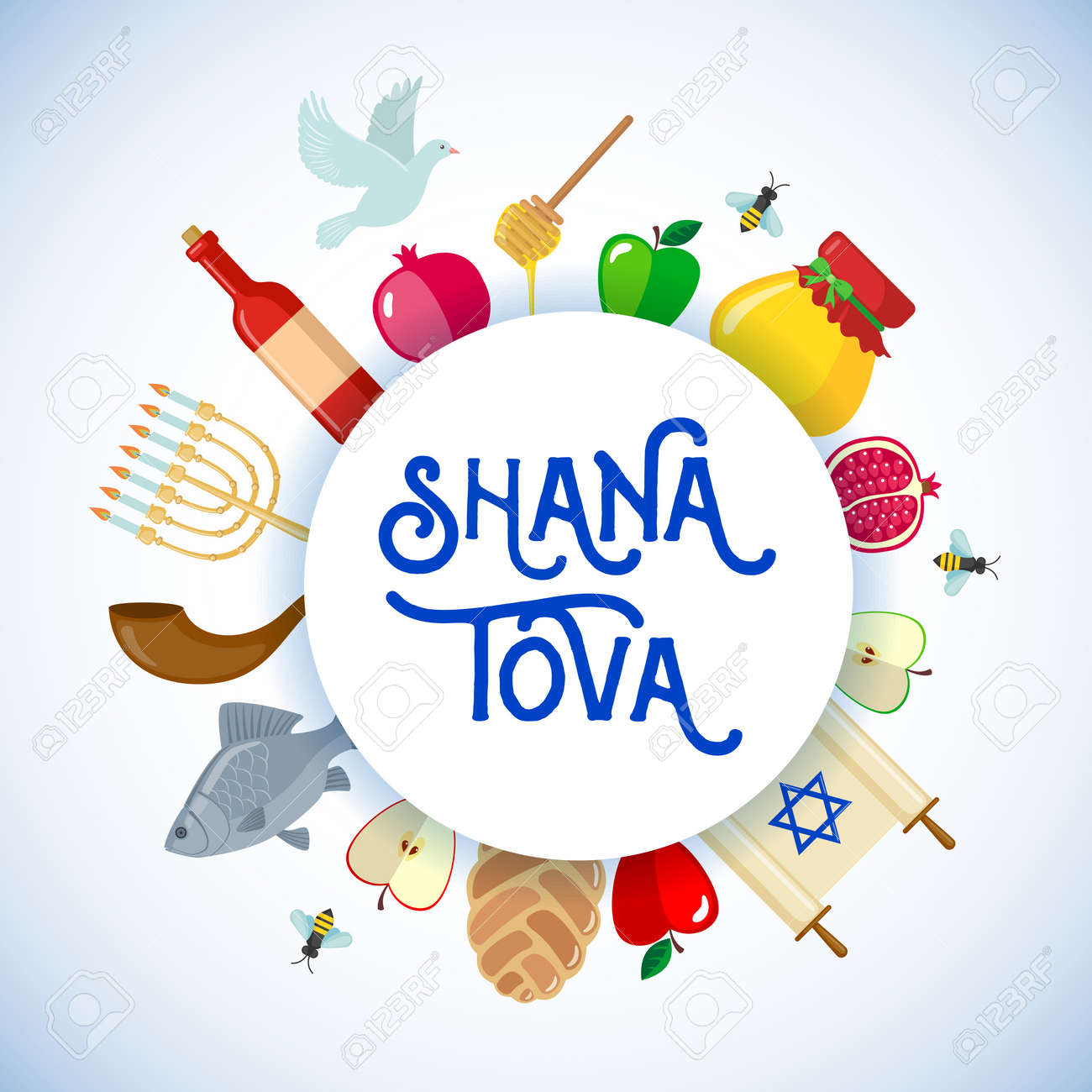 Rosh Hashanah Greeting Card In Flat Style Shana Tova Or Jewish