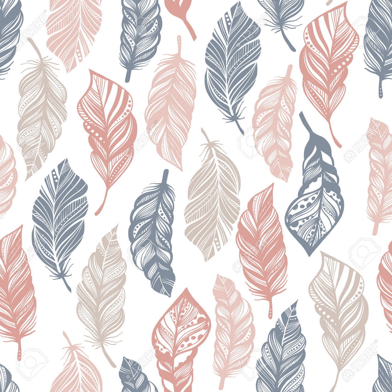 Seamless Pattern With Feathers Isolated On White Background
