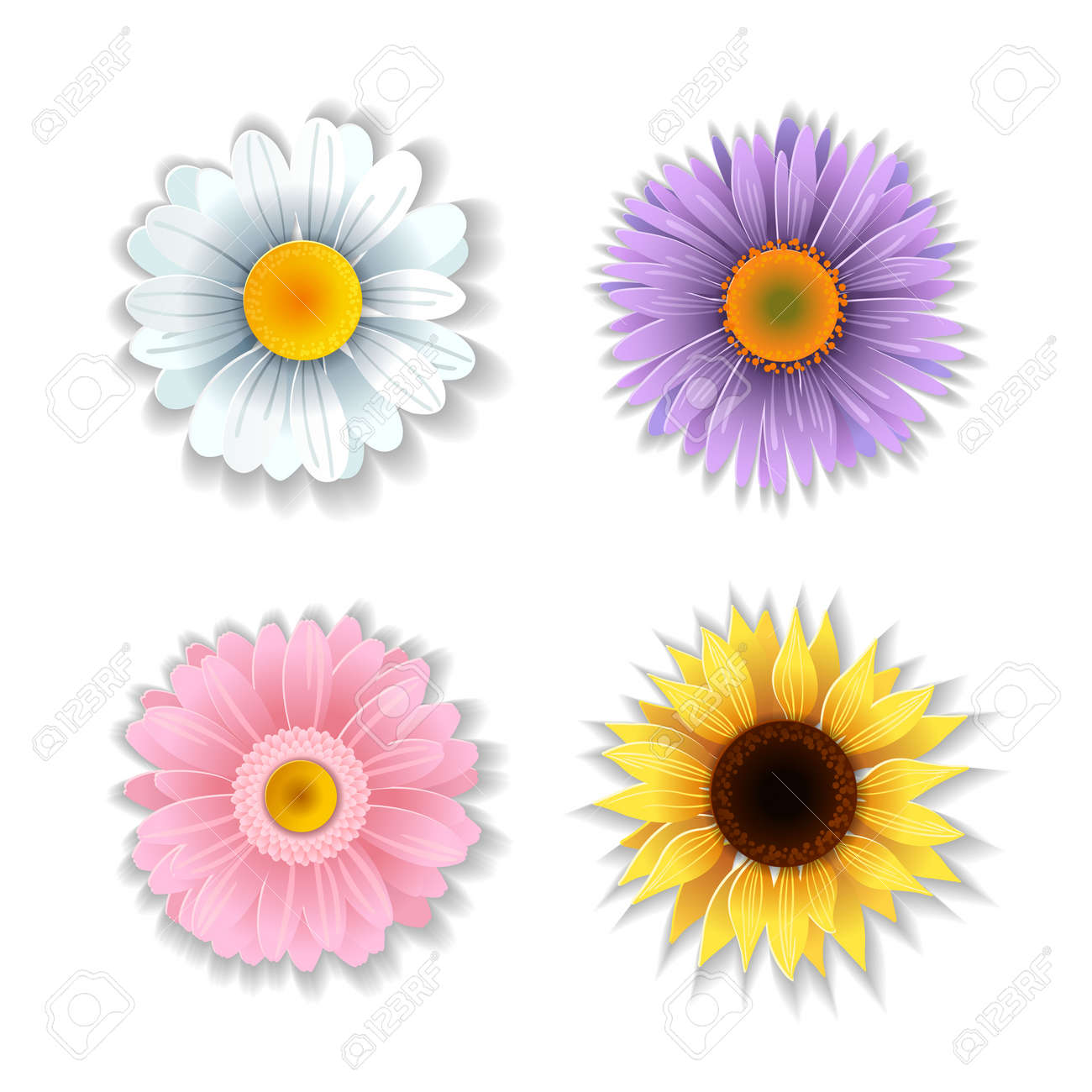 Set Of Cute Paper Art Flowers Origami Flowers Collection Vector