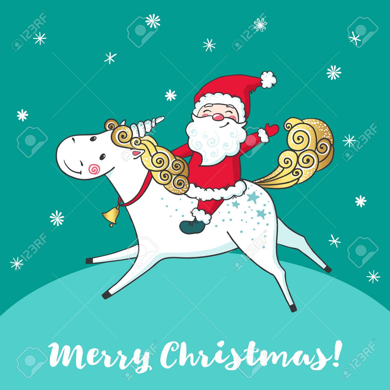 Greeting card with cute unicorn and santa claus royalty free greeting card with cute unicorn and santa claus stock vector 87738818 m4hsunfo