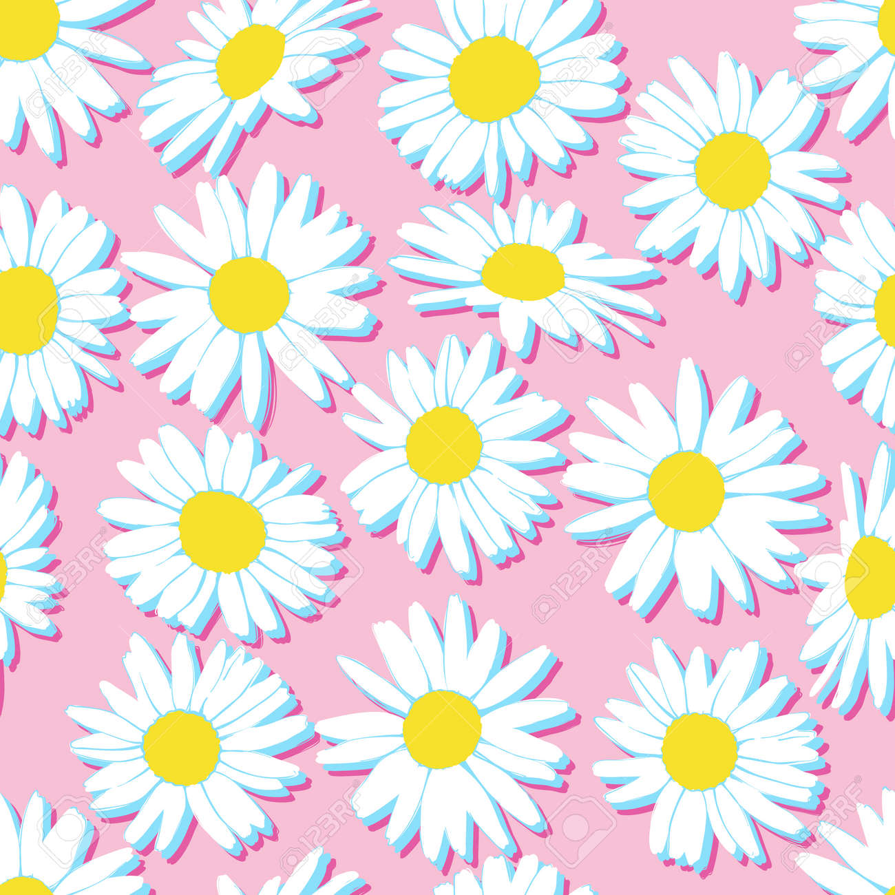 Hand drawn floral seamless pastel pattern with camomile silhouettes. Cute graphic flower background. Summer