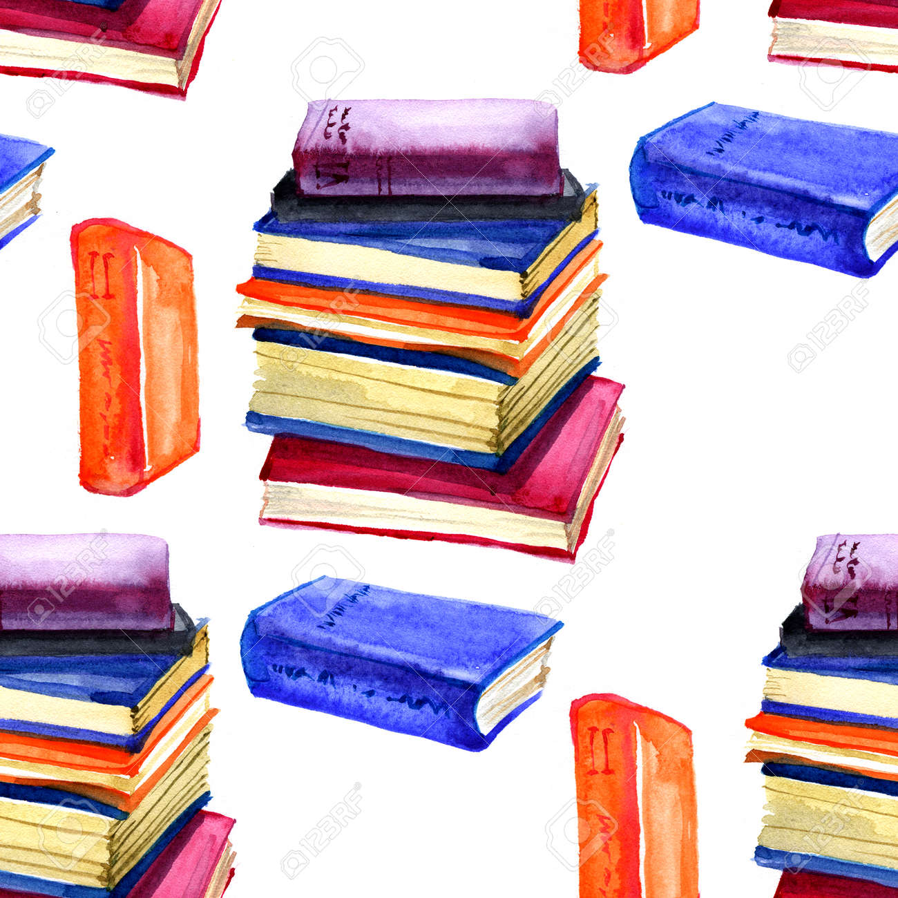 Seamless Watercolor Pattern With Book On White Stock Photo, Picture ...