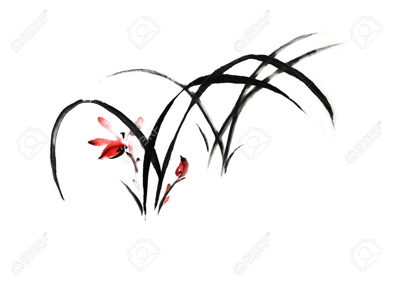 Banque d\u0027images , Peinture chinoise de fleur orchidée sur fond blanc.