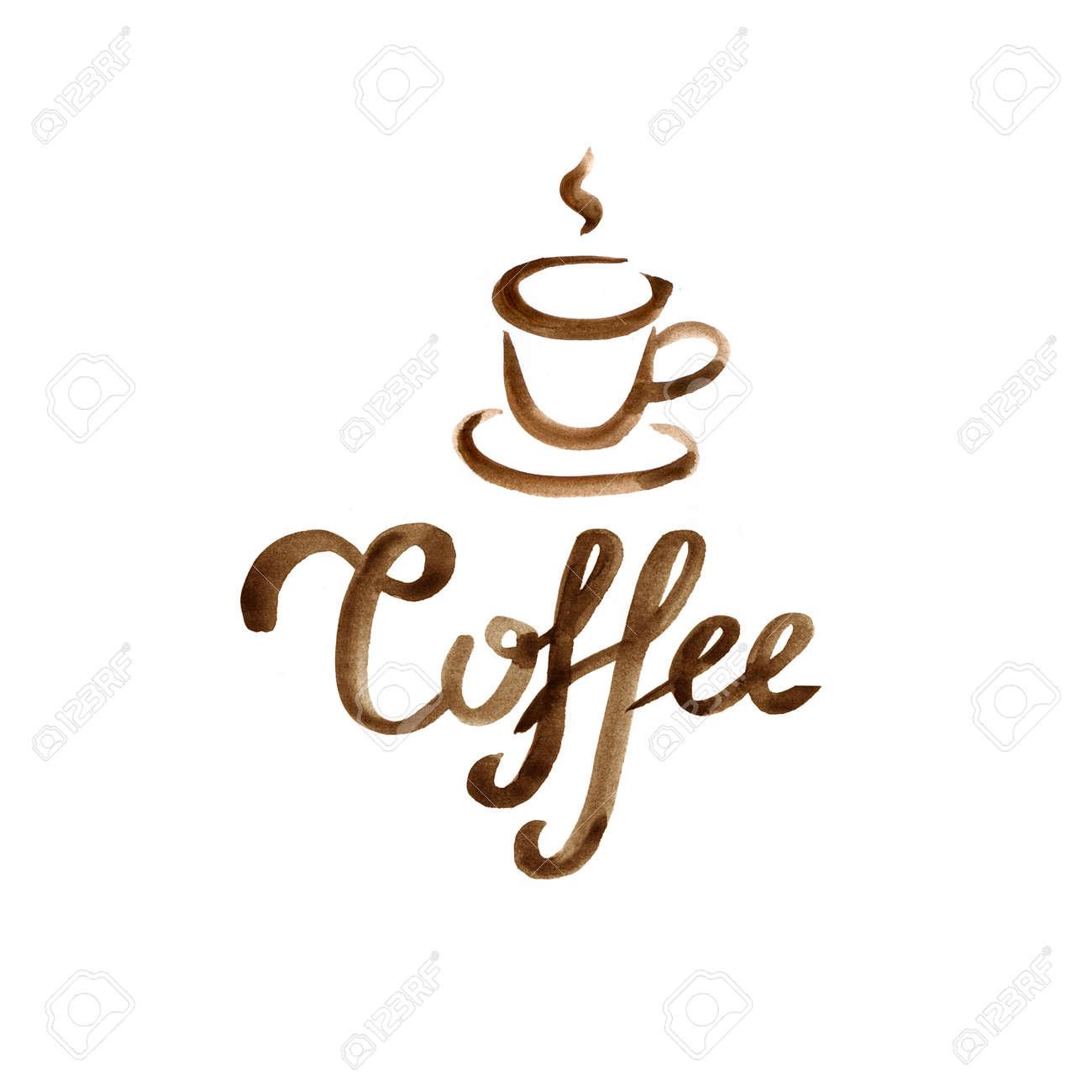 Hand Gezeichnet Beschriftung Karte Mit Aquarell Braunen Kaffeetasse