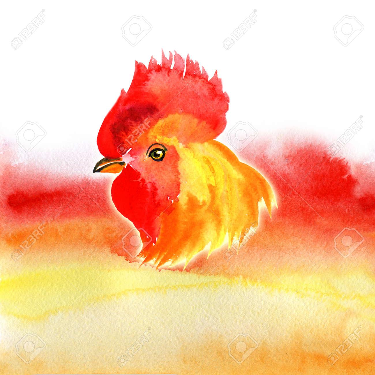Chinese New Year Card Design Mit Hahn, Tierkreis Symbol Für 2017 ...