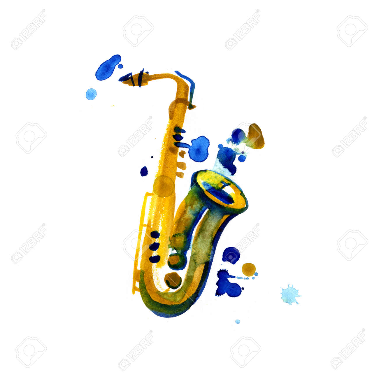 Watercolor copper brass band saxophone on white
