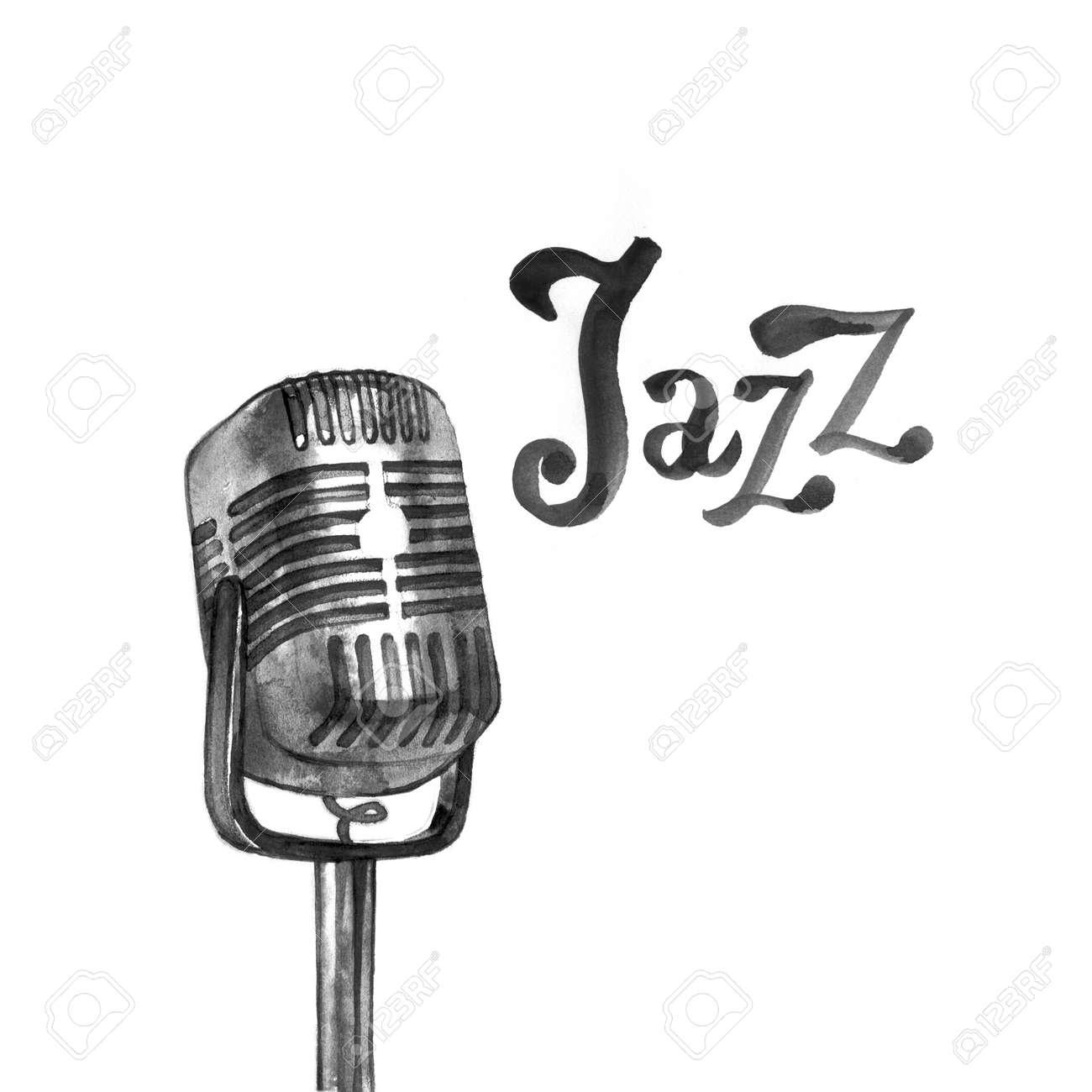Jazz Musik Logo Poster Vorlage. Abstrakter Aquarellhintergrund Für ...