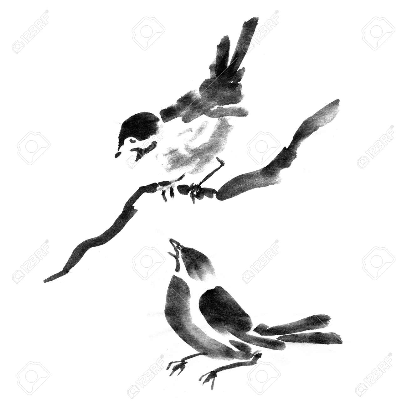 sumi e ink collection of birds watercolor painting stock photo