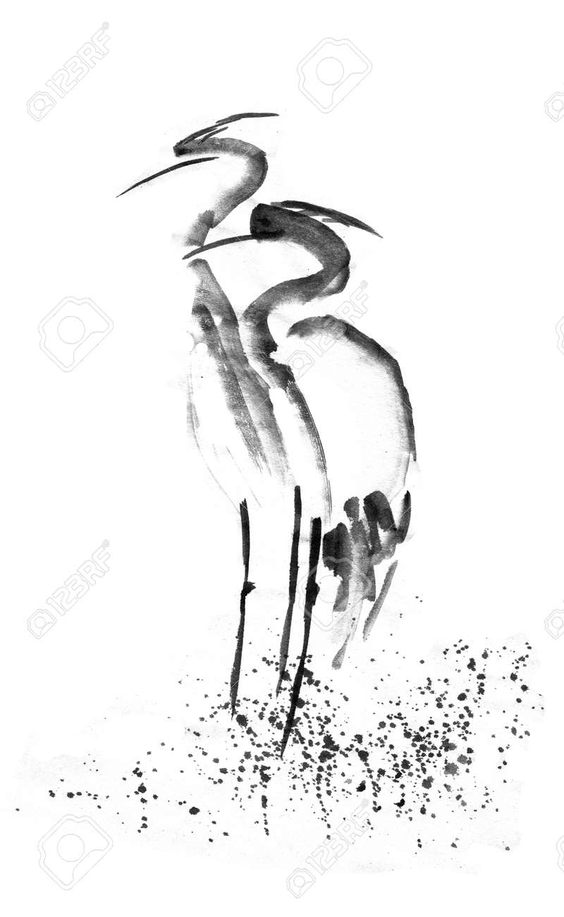 Beautiful gallant stork heron crane love black ink japanese painting sumi e