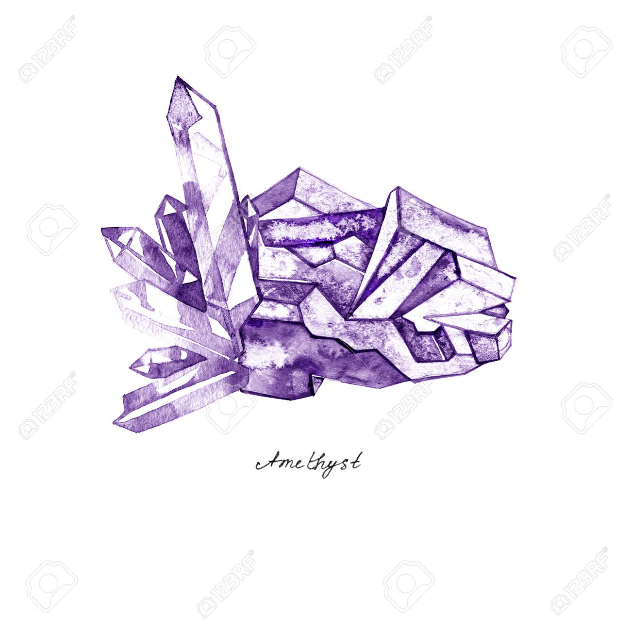 Watercolor purple crystal amethyst cluster hand drawn painting illustration isolated on white background tanzanit gem stones for design fashion advertising, geological , scrapbook, jewelry store - 76190421