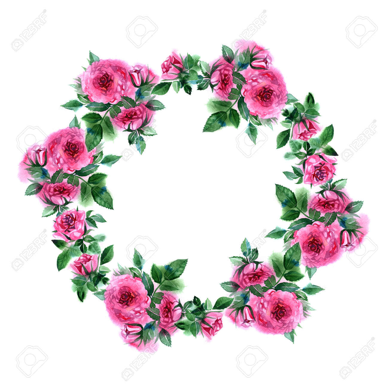 Rose Flower Wreath Floral Circle Border Watercolor Frame On White Background Stock Photo