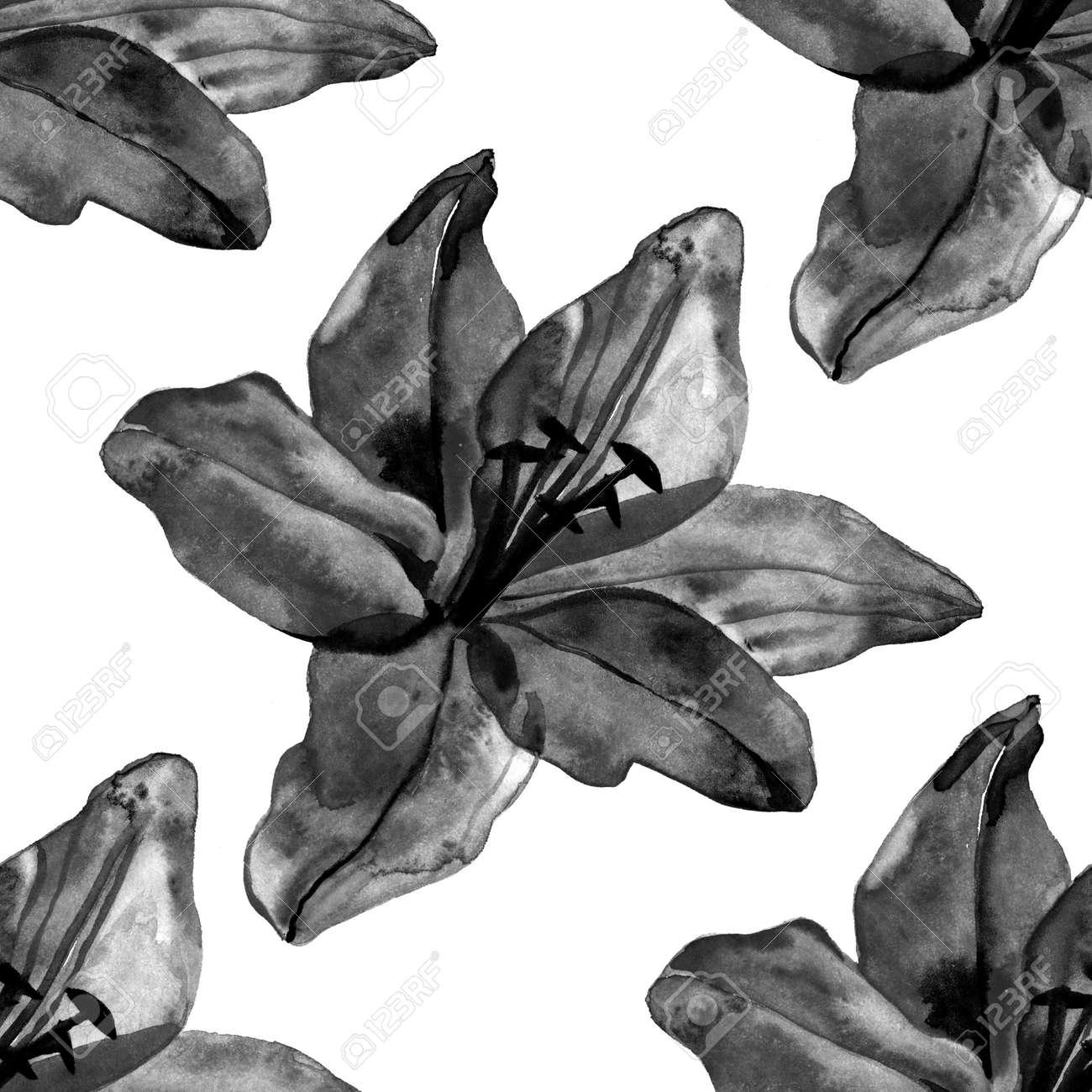 Beautiful black lilies flowers seamless pattern on white background beautiful black lilies flowers seamless pattern on white background stock photo 83870915 izmirmasajfo