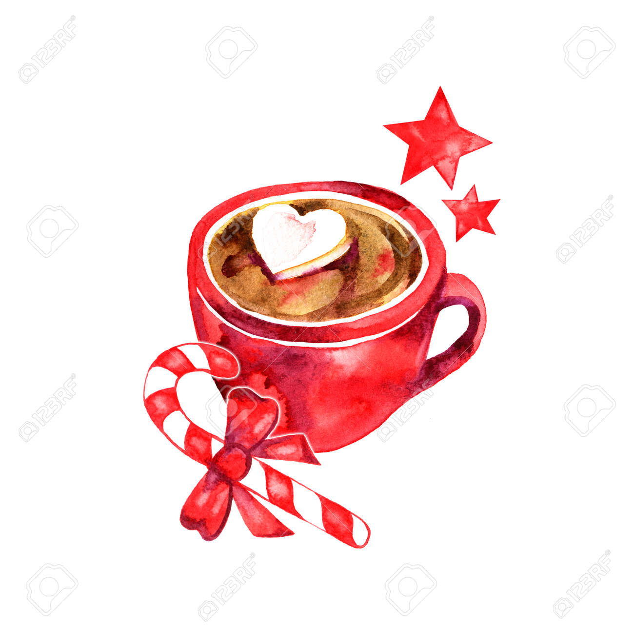 Winter hot drink, cacao with marshmallows. Cup of hot chocolate with marshmallows. Traditional beverage for winter time. Watercolor illustration. - 87925203