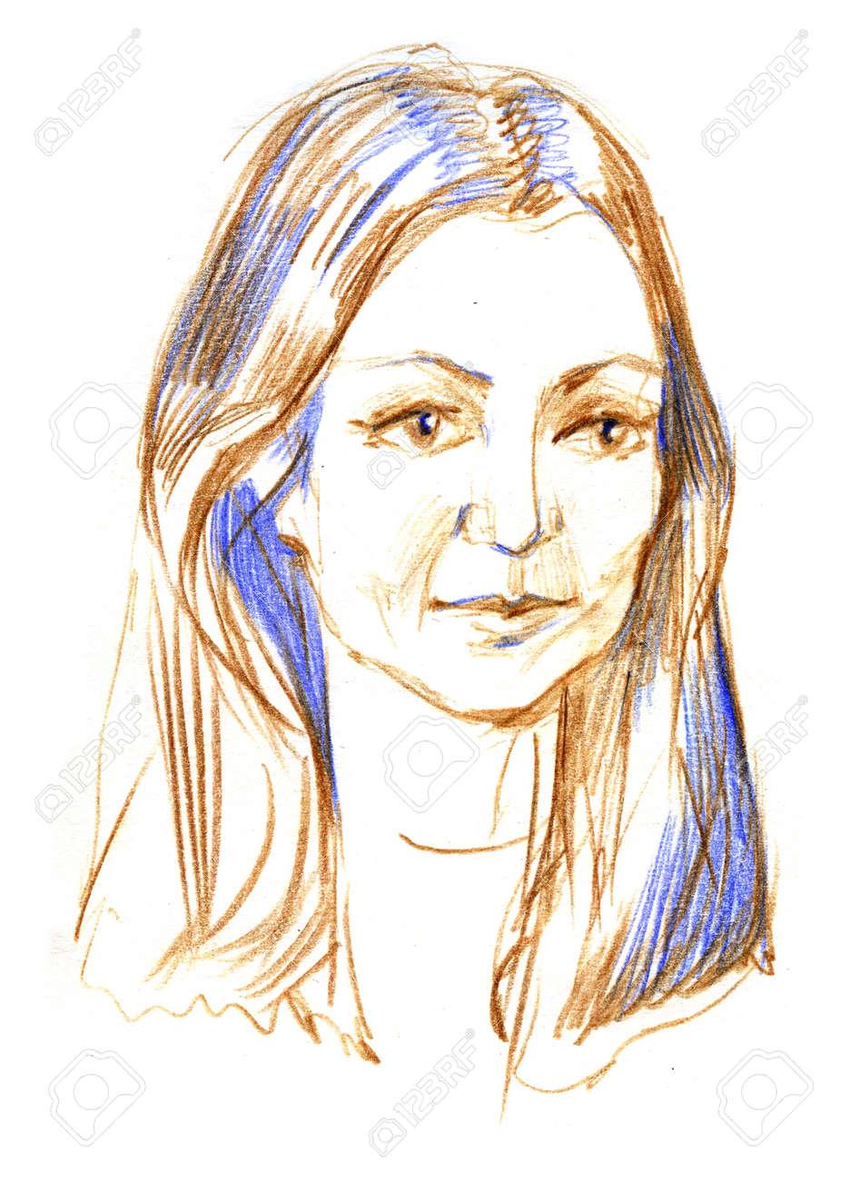 Pencil sketch of a woman s portrait stock photo 92941998