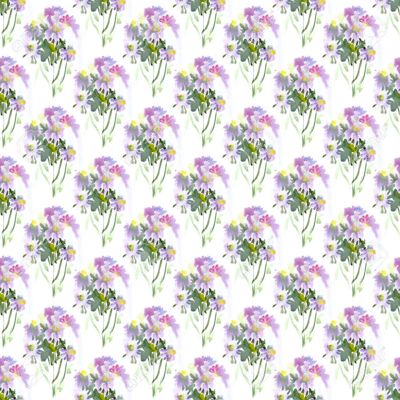 Seamless Patterns With Violet Watercolor Spring Flowers Lizenzfreie