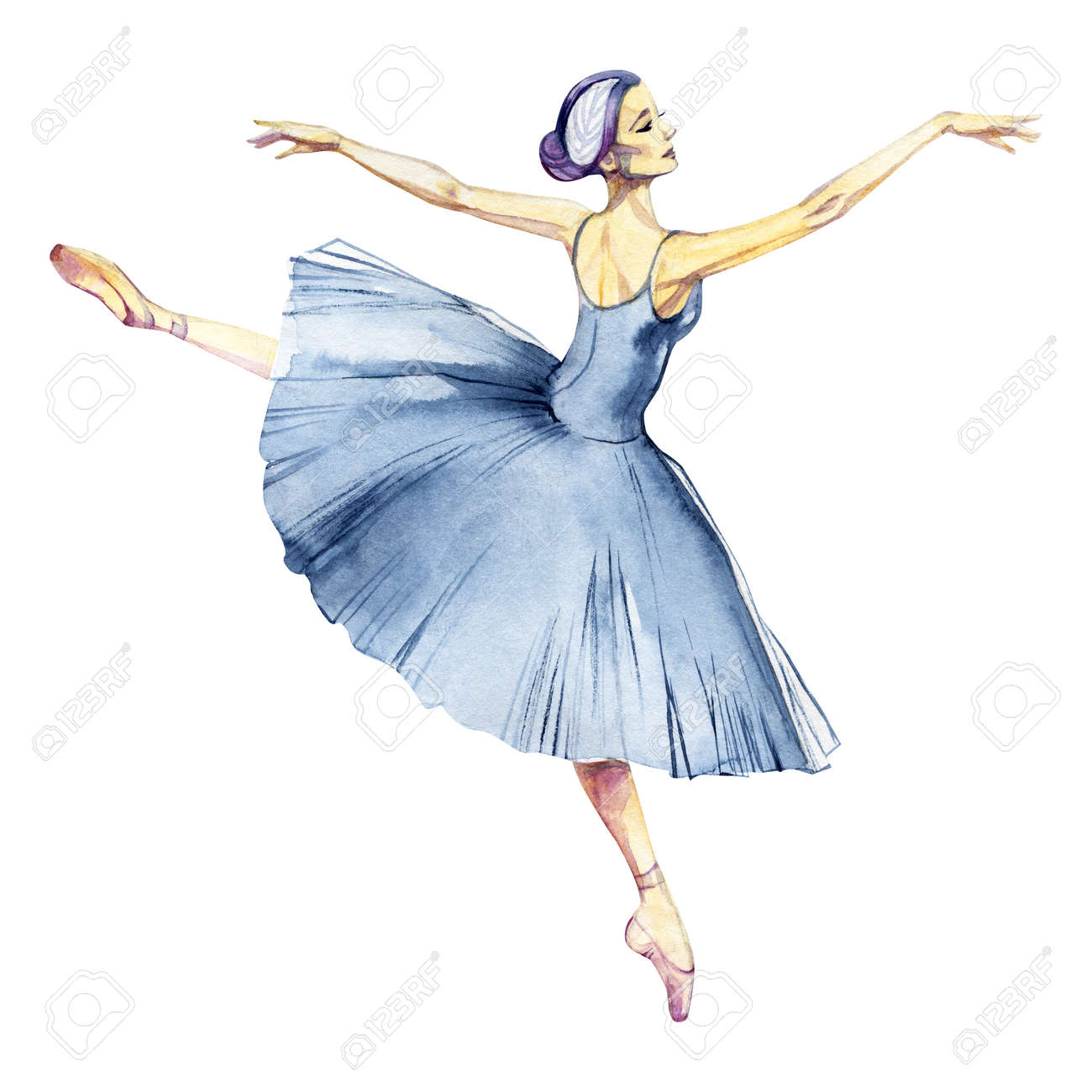 Ballerina Dancing Watercolor Painting Isolated On White Background Stock Photo Picture And Royalty Free Image Image 117357895