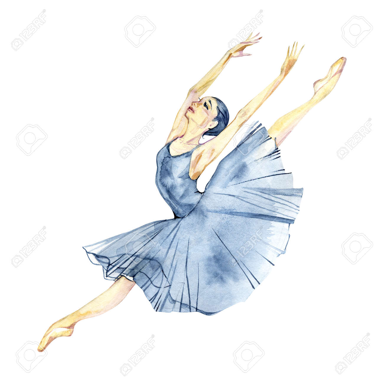 Ballerina Dancing Watercolor Painting Isolated On White Background Stock Photo Picture And Royalty Free Image Image 117357896