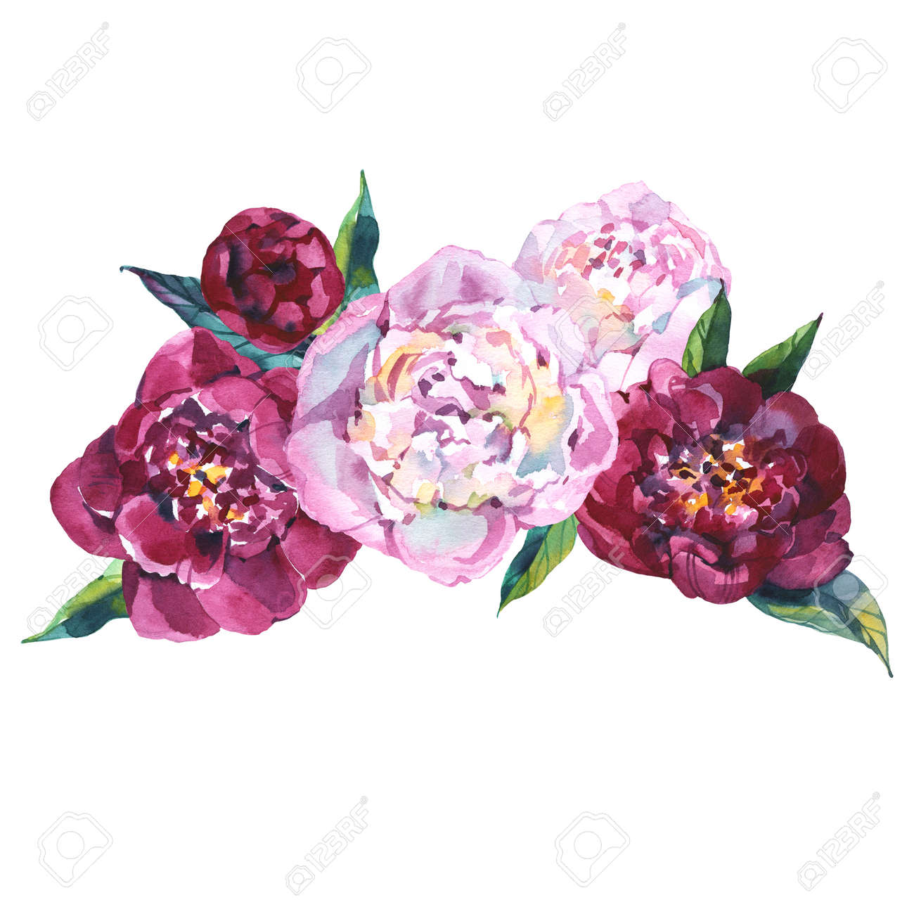 Watercolor Boho Burgundy Red White Floral Round Bouquet Flowers Stock Photo Picture And Royalty Free Image Image 152326012