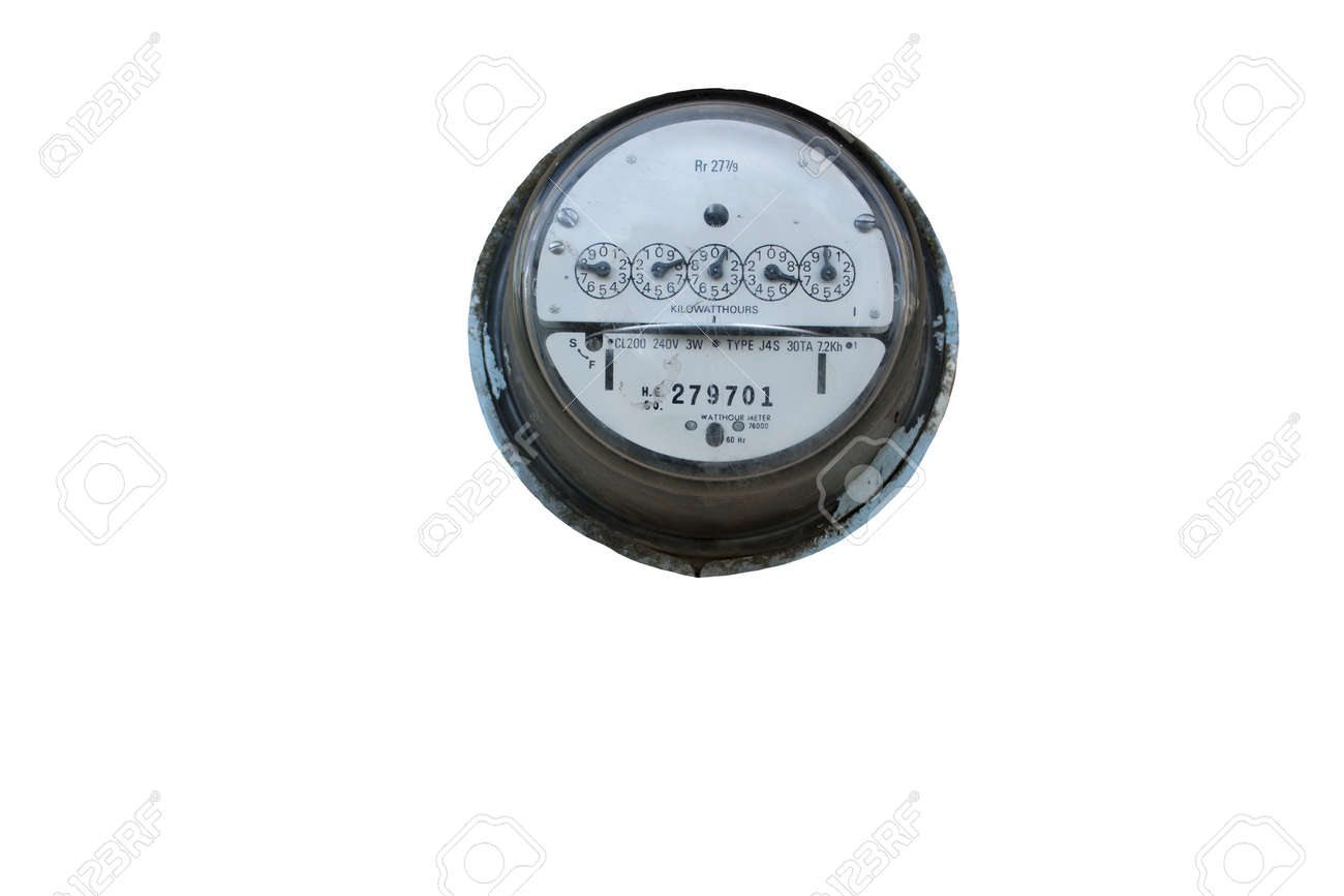old electric meter isolated on white background Stock Photo - 7608571