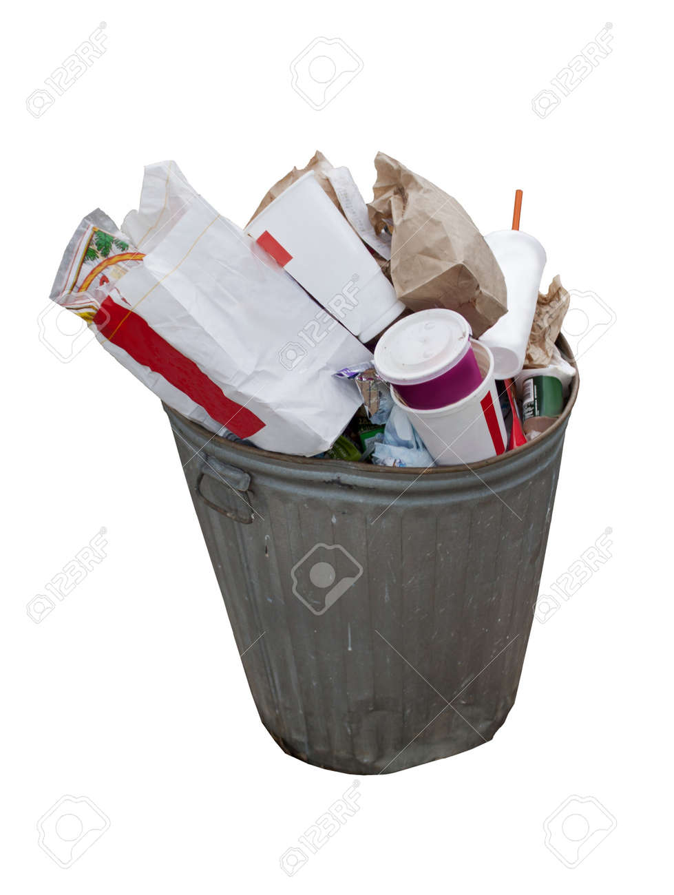overflowing garbage can isolated on a white background Stock Photo - 7608570