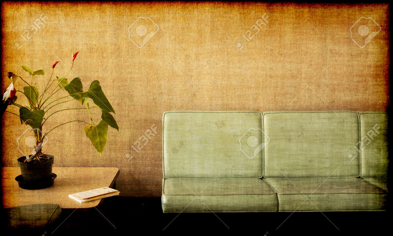 Grungy photo of a Room with chairs, potted plant and a book Stock Photo - 9046142