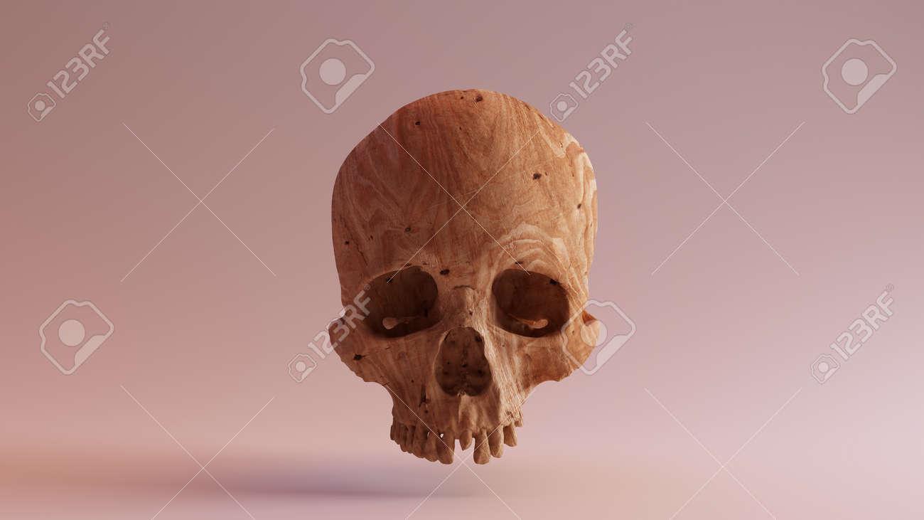 Carved wood skull d illustration d rendering scsuvizlab cc