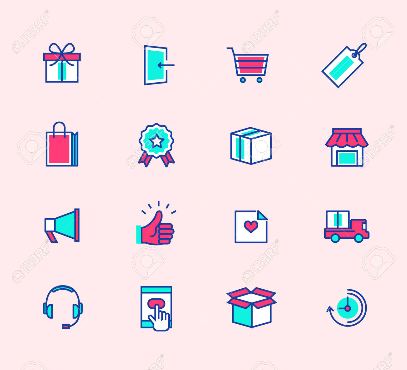 Shopping Line Icons Neon Color Symbols For Mobile And Web Graphics