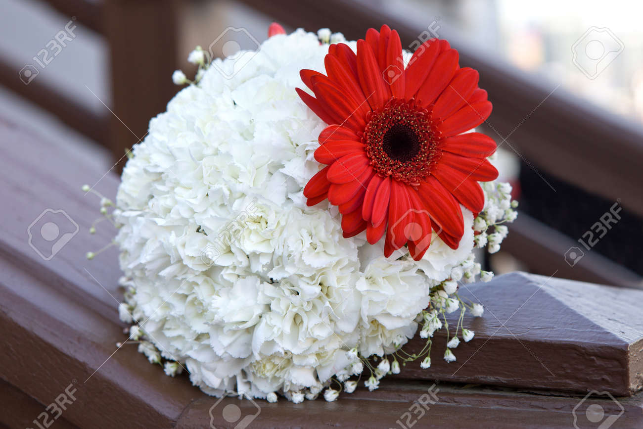 Bouquet Of Red Gerbera On A Background Of White Flowers. Bridal ...