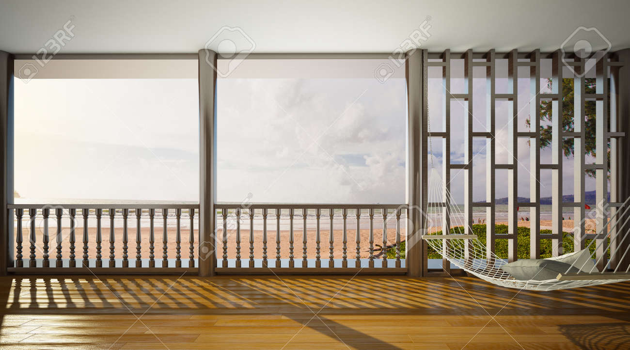 Interior Of Living Room Sea View White Hammock With Wooden.. Stock ...