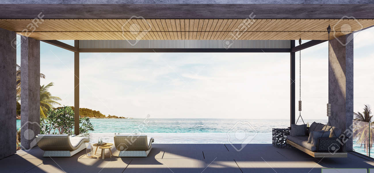 Balcony,Swing Sofa And Daybed On The Swimming Pool With The Sea At Sunlight