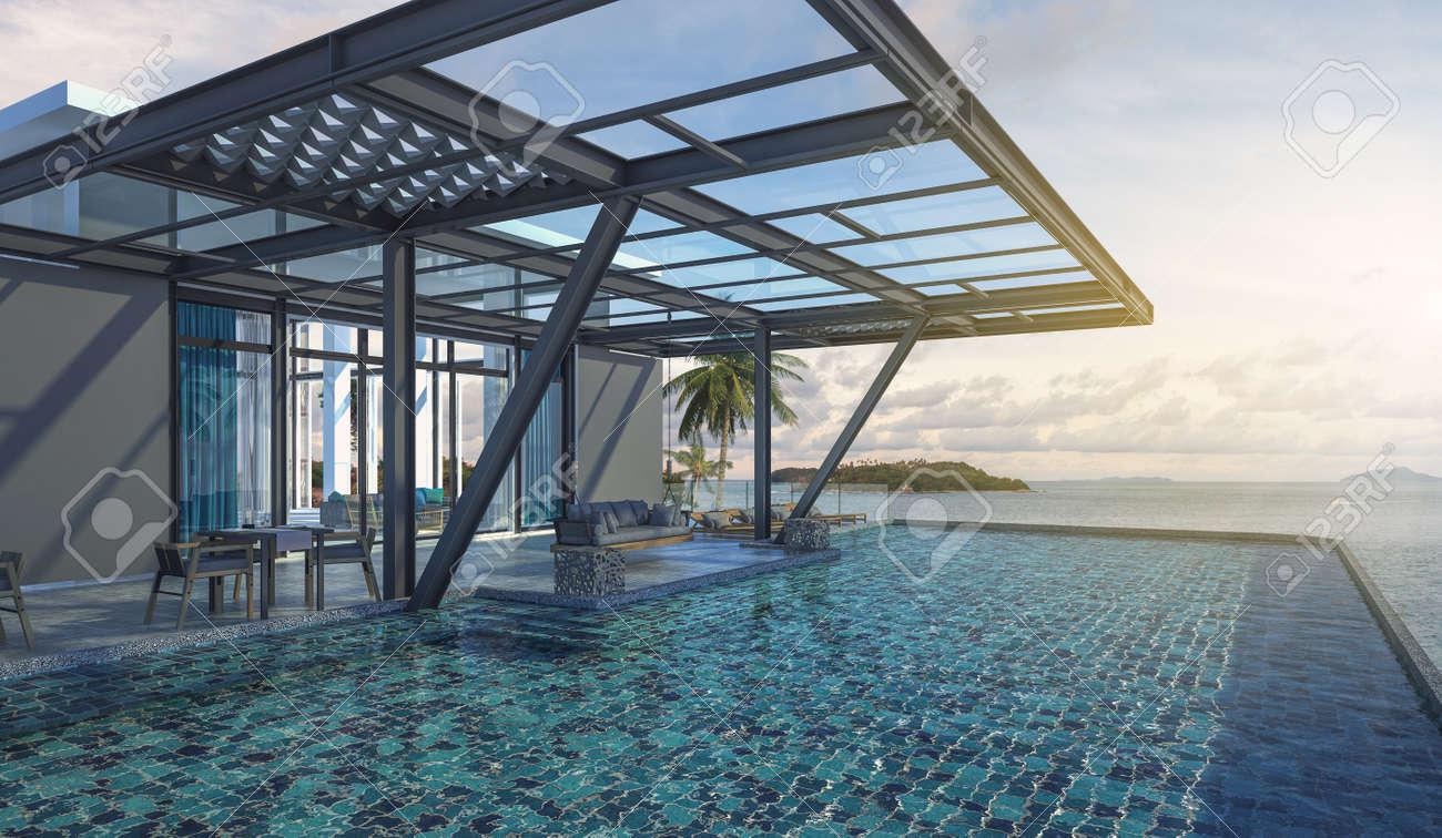 Schone Balkon Beach Lounge Swing Sofa Und Liege Auf Dem Pool Mit