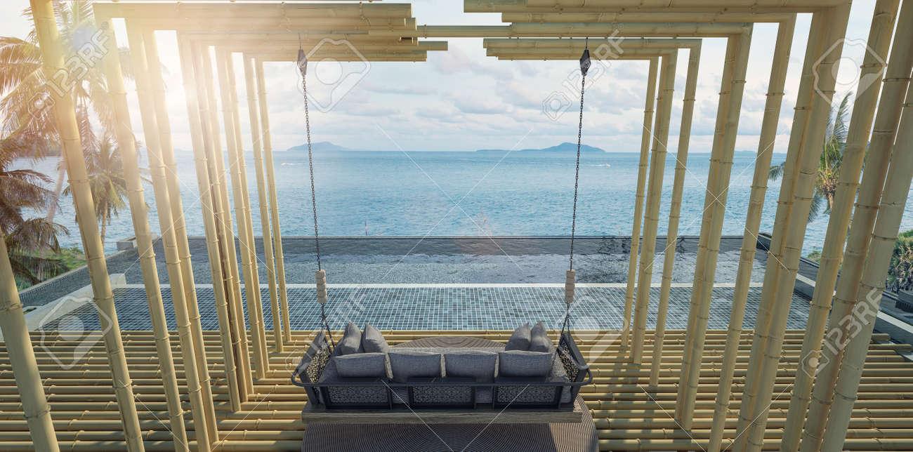 belle vue sur le balcon piscine privée avec mur de bambou, vue sur