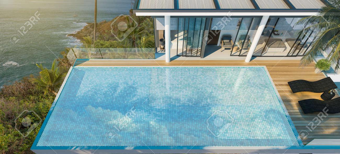 Top View Swimming Pool In Modern Loft DesignLuxury Ocean Beach