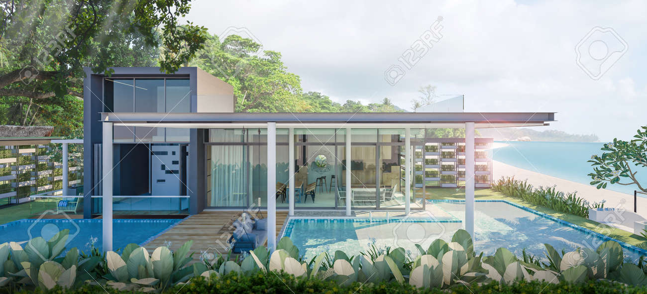 beautiful beach house pool villa on sea view 3d rendering stock rh 123rf com Beach House Paintings Beach House Lighting