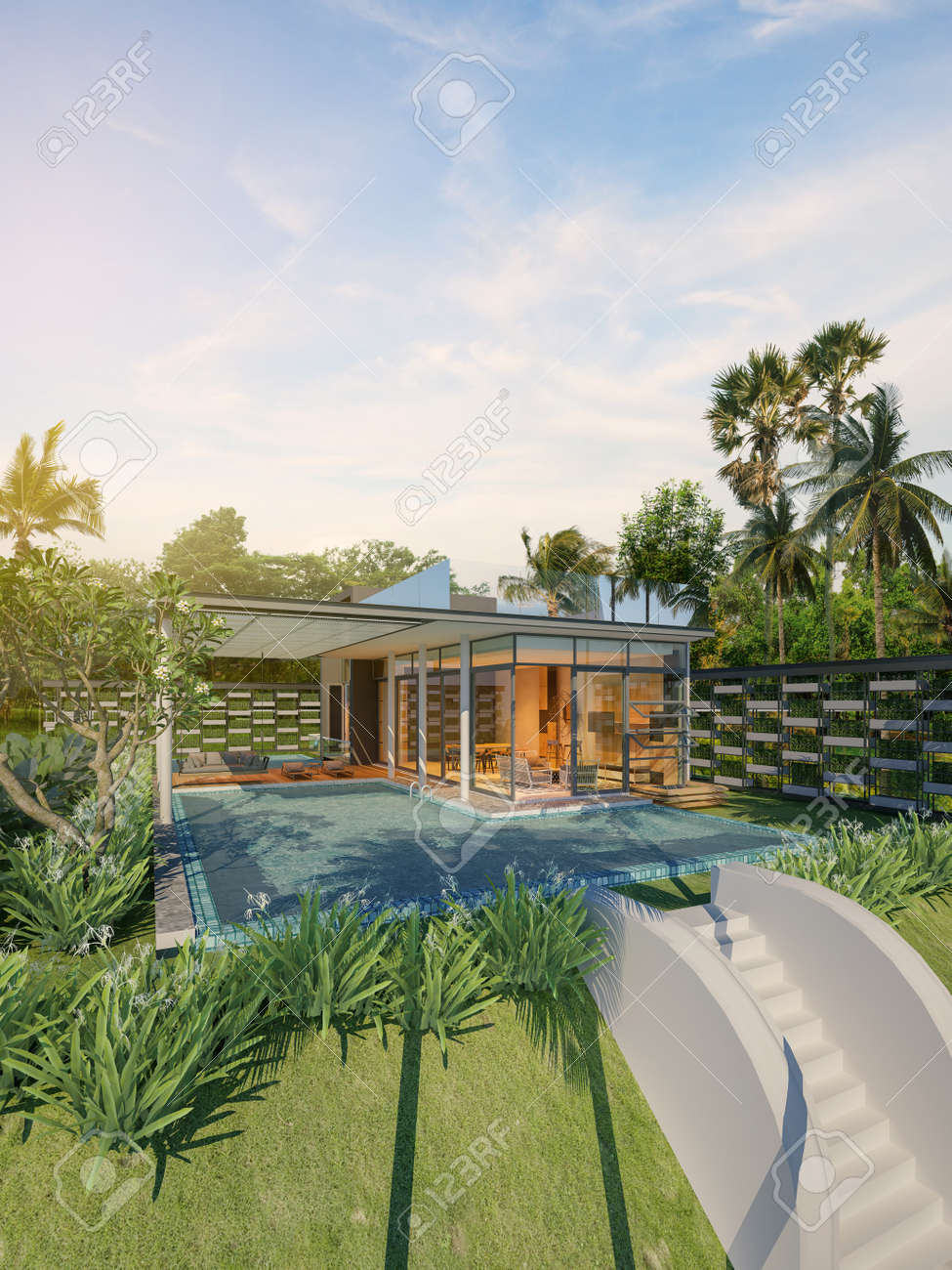beautiful beach house pool villa on sea view 3d rendering stock rh 123rf com Beach House Paintings Beach House Blueprints
