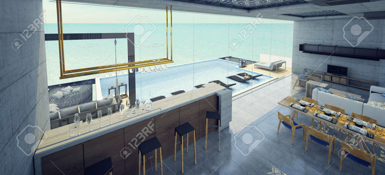 Modern Beautiful House Living Room Dining Room And Bar With Stock Photo Picture And Royalty Free Image Image 149369017
