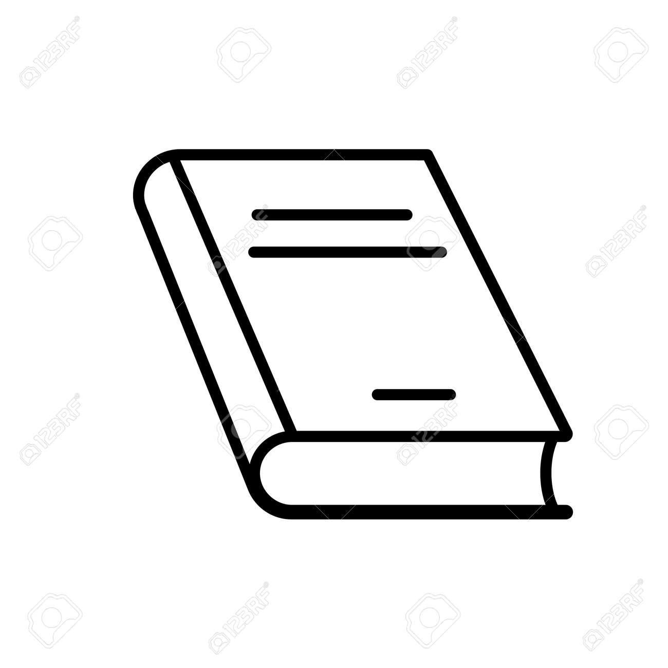 Closed book line icon  Thick hardcover book  Vector Illustration