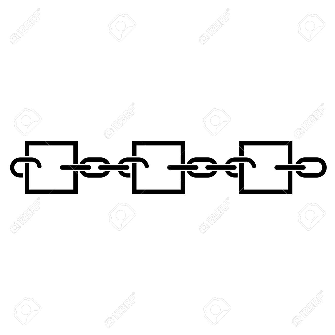 Blockchain Line Icon Records Represented By Blocks Connected With Chain Links Vector Illustration