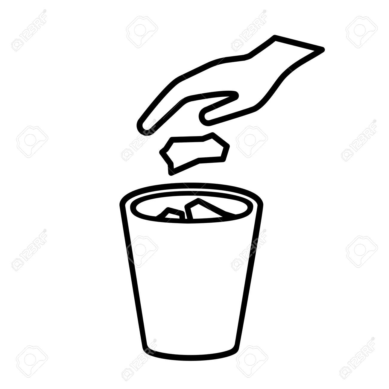 No littering line icon. Hand throwing trash, garbage, waste in recycle bin. Vector Illustration - 99752443