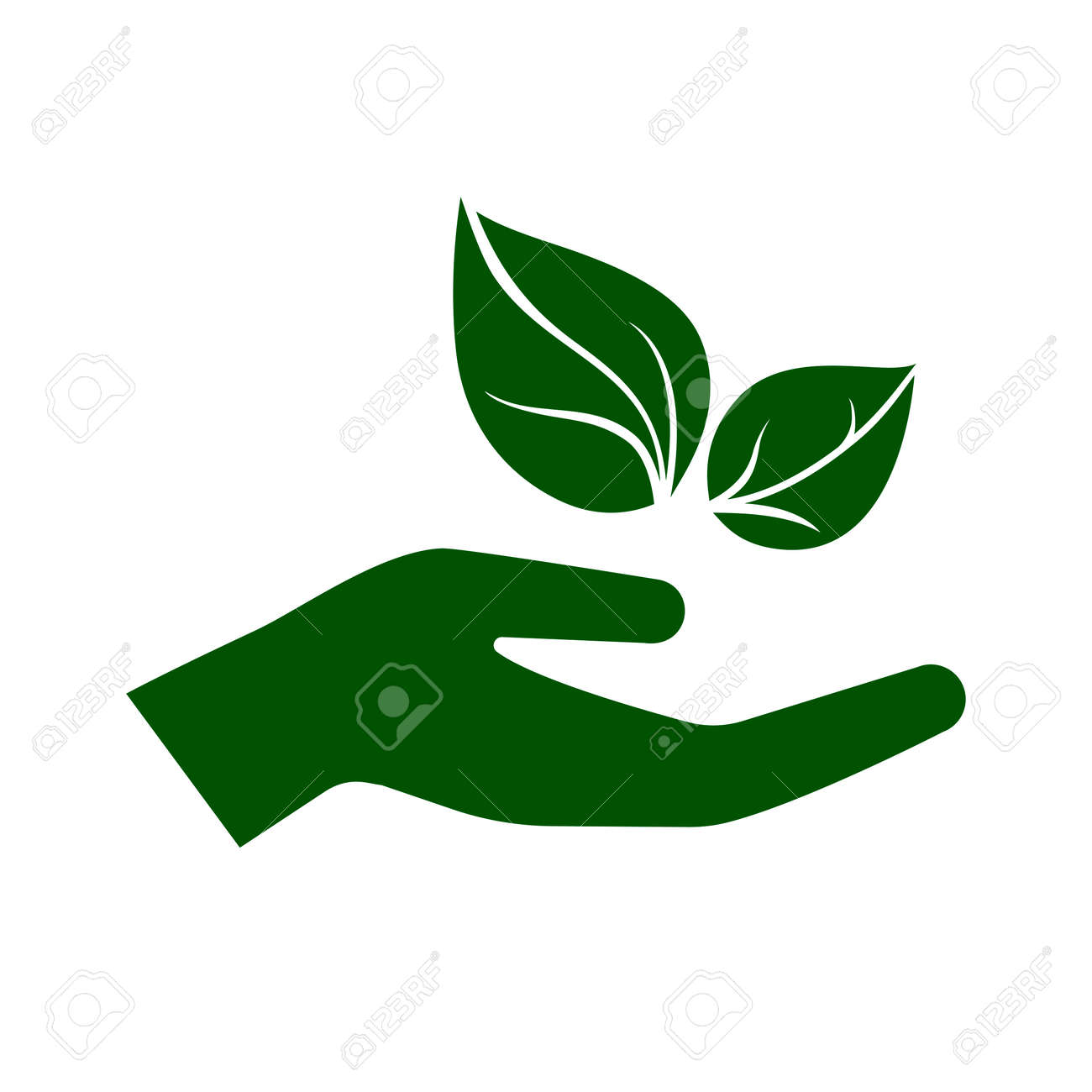 Icon Of Hand Carefully Holding Green Leaves Symbol Of Ecology