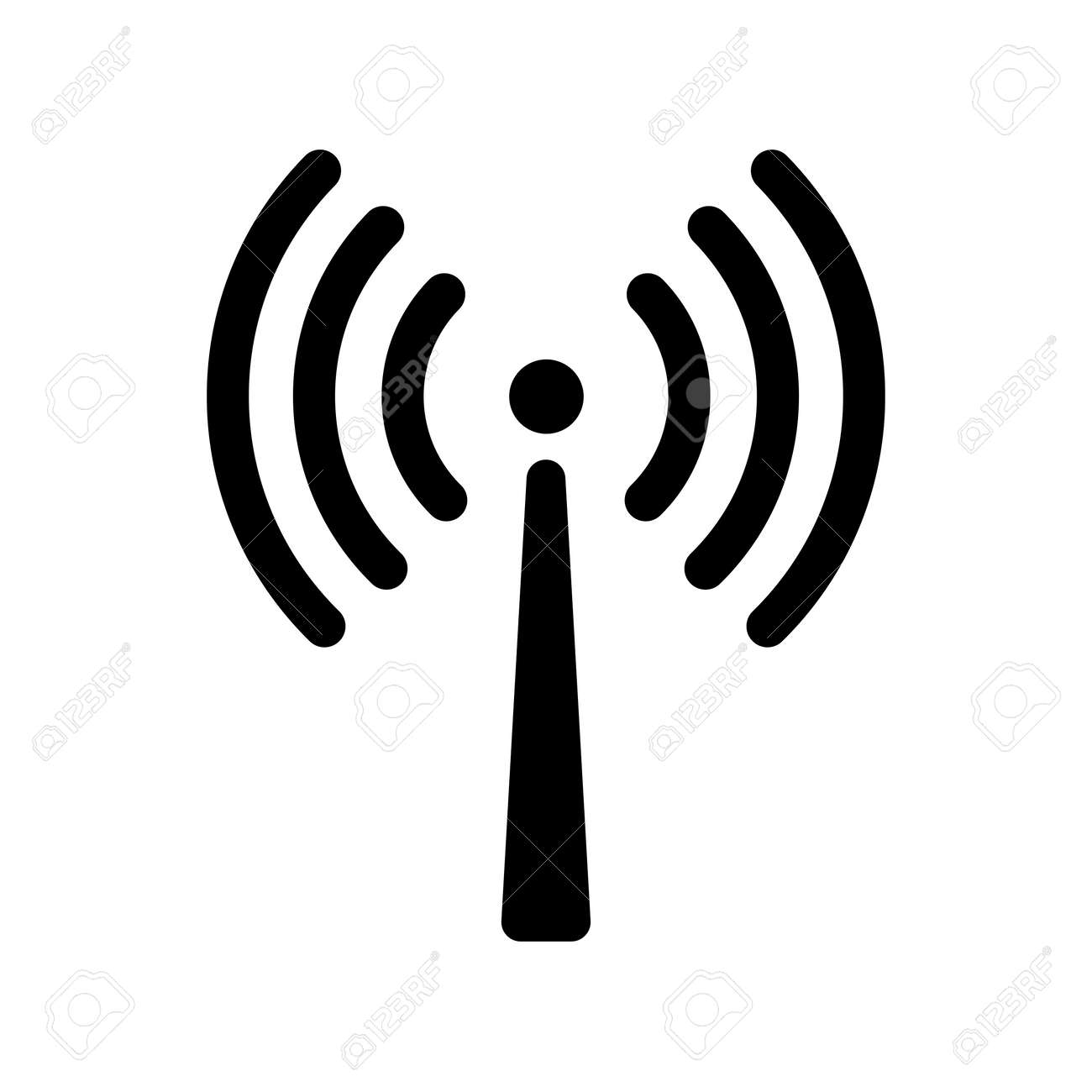 Signal transmission icon. Antenna or broadcasting tower and signal waves. Vector Illustration - 111212664