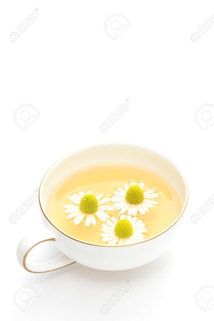 Chamomile tea on white background Stock Photo - 14227034